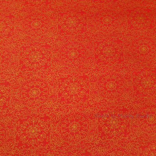 Karácsonyi pamutvászon piros alapon arany mintával