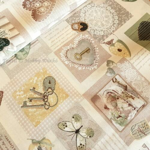 Szürke szíves - kulcsos dekortextil (vintage stílus)