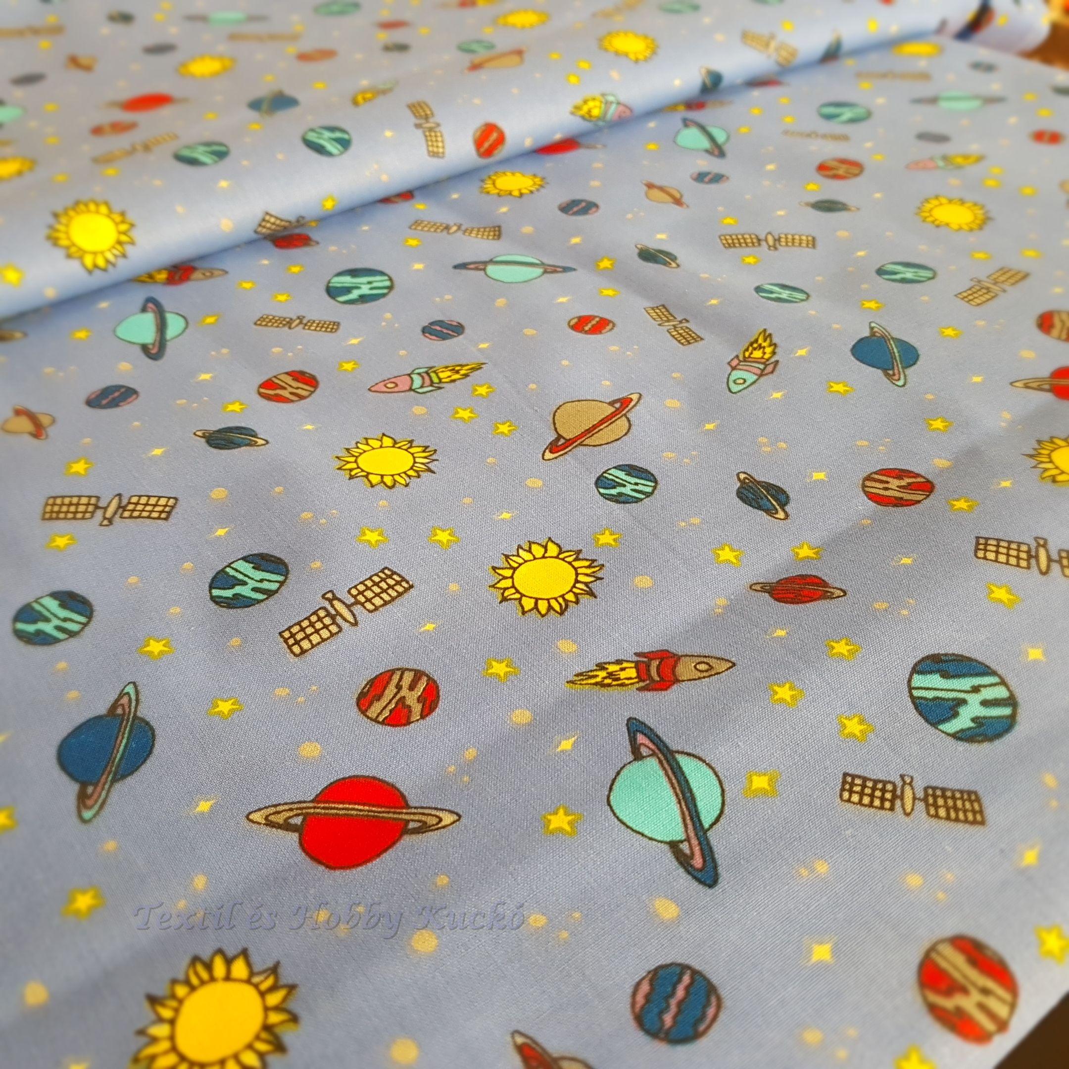 d9761432e5 Bolygós gyerekmintás pamutvászon - Textilkuckó webáruház